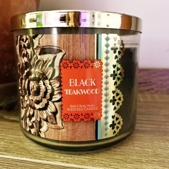 Rare Black Teakwood 14.5 oz Candle 3 wick + BONUS